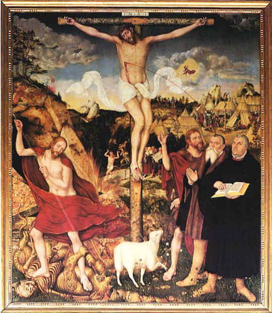 Lucas Cranach, Crocifissione, nella Chiesa dei SS.Pietro e Paolo a Weimar. Il sangue che sgorga dal costato di Cristo zampilla direttamente sul capo del pittore.